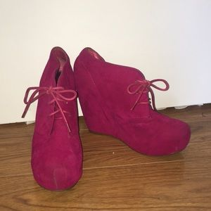 Hot pink lace up wedges